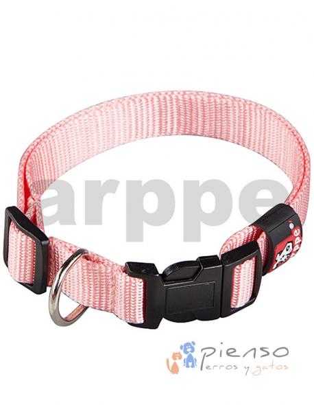 Collar para perros ajustable de nylon rosa palo básico
