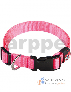 Collar para perros ajustable de nylon rosa fucsia básico